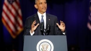 Tổng thống Obama giã từ công chúng trong bài diễn văn tại Chicago ngày 10/01/2017.