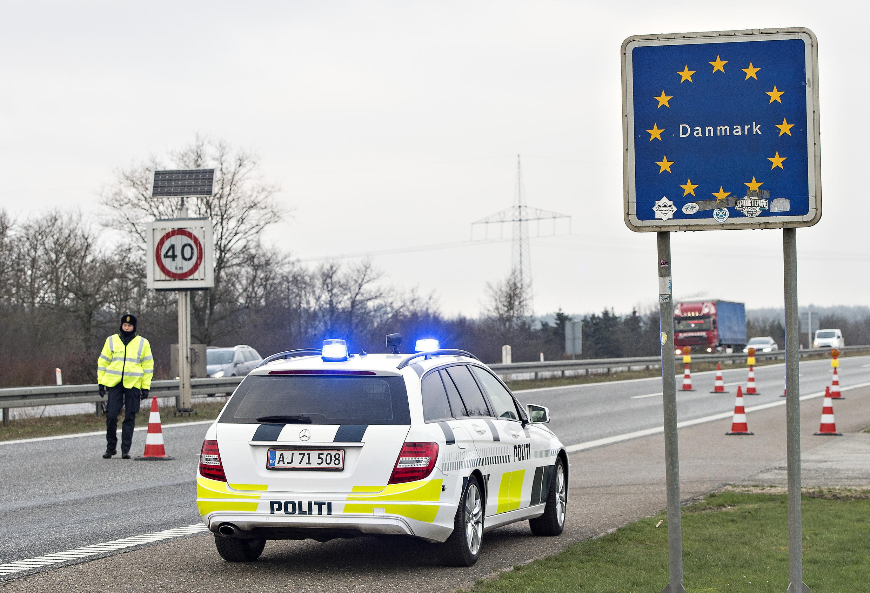 Controle de fronteira entre Dinamarca e Alemanha.