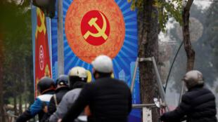 Bích chương tuyên truyền cho Đảng Cộng Sản Việt Nam được thấy trên đường phố Hà Nội ngày 23/01/2019.