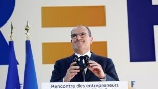 Le Premier ministre français Jean Castex lors de l'université d'été du Medef à Paris, le 26 août 2020.