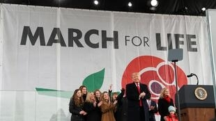 Tổng thống Mỹ Donald Trump phát biểu trước những người biểu tình chống phá thai ở Washington, ngày 24/01/2020.