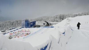 A view of the arrival area of the World Ski Championships