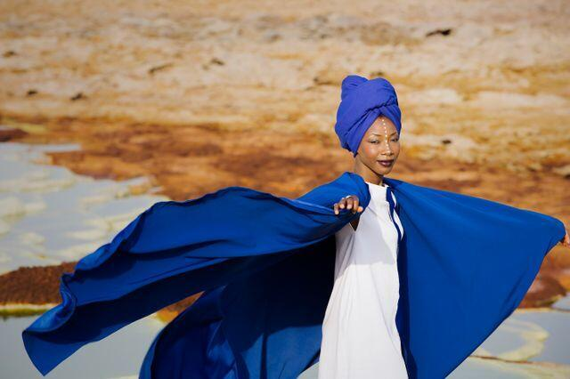 Diawara in video for the song Nterini on the Fenfo album, shot by Ethiopian photographer Aida Muluneh.
