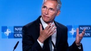 Le secrétaire général de l'Otan Jens Stoltenberg lors d'une conférence de presse à Bruxelles, le 2 août 2019.