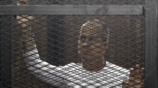 Nhà báo Úc Peter Greste của kênh truyền hình Al Jazira trong phiên tòa tại Cairo, 24/03/2014.