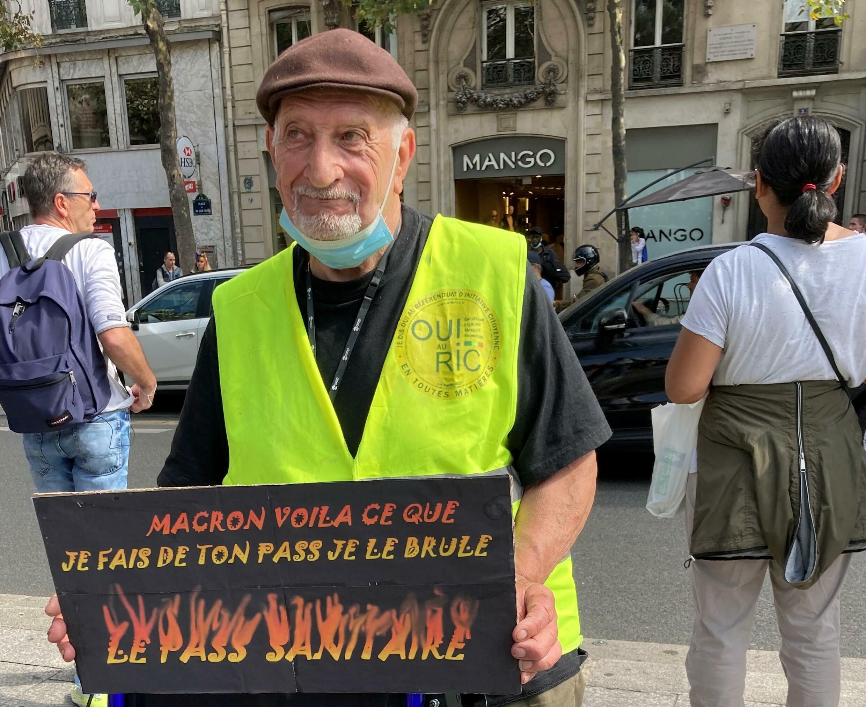 Gilbert, 88, says Macron's health pass belongs in the fire.
