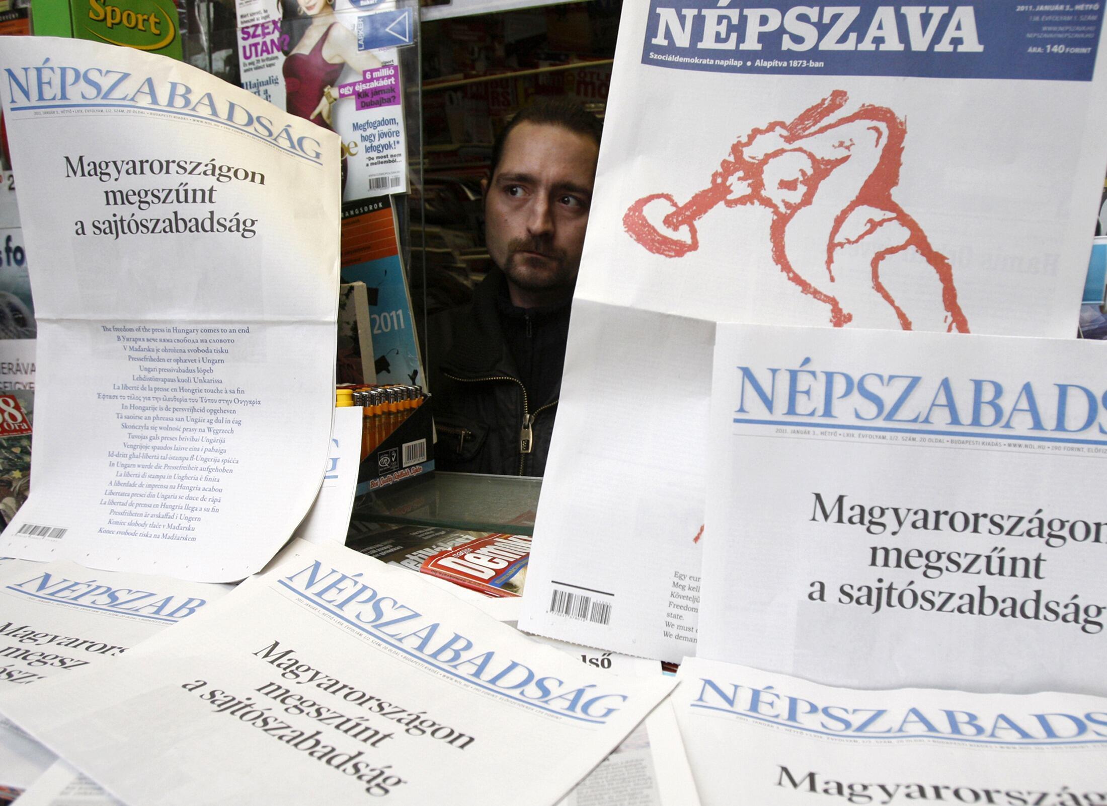 Ảnh minh họa : Báo chí Hungary phản đối luật mới nghiêm ngặt đối với truyền thông và đòi tôn trọng quyền tự do ngôn luận (ngày  03/01/ 2011).