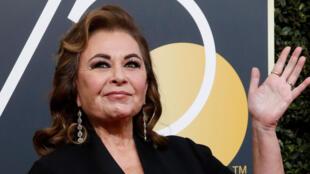 L'actrice Roseanne Barr à son arrivée au 75e Golden Globe Awards à Beverly Hills, Californie, États-Unis, le 7 janvier 2018.