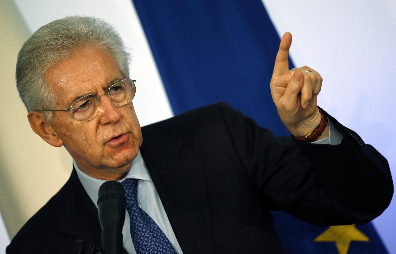 El primer ministro italiano Mario Monti durante la conferencia de prensa de fin de año en Roma, el 23 de diciembre de 2012.