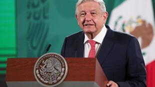 Le président mexicain Andres Manuel Lopez Obrador lors d'une conférence de presse sur les résultats des élections de mi-mandat, au Palais national de Mexico, le 7 juin 2021.