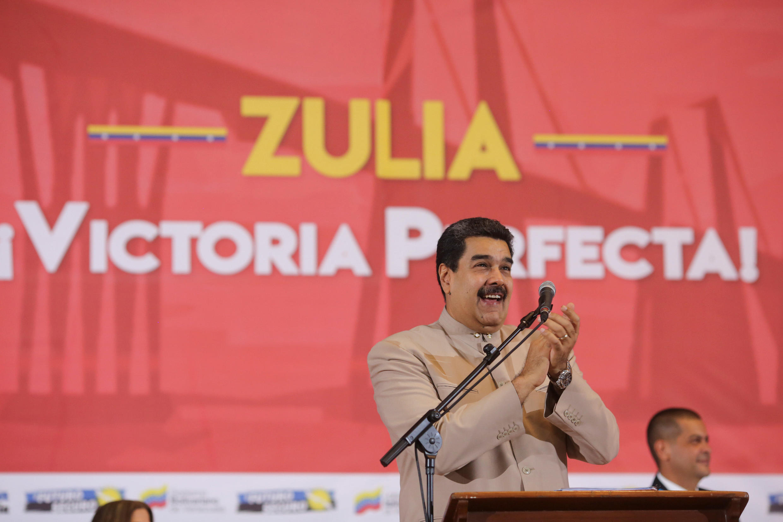 O presidente da Venezuela, Nicolás Maduro, em comício no estado de Zulia em dezembro de 2017.