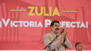 El presidente de Venezuela, Nicolás Maduro, el 16 de diciembre de 2017 en un ceremonia por la elección del gobernador del estado de Zulia.