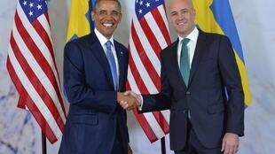 Barack Obama akiwa na Waziri Mkuu wa Sweden Fredrik Reinfeldt
