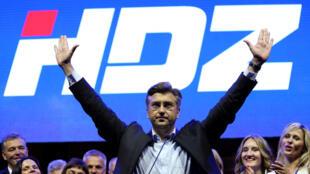 Andrej Plenkovic, leader du parti conservateur HDZ, en meeting le 8 septembre à Zagreb.