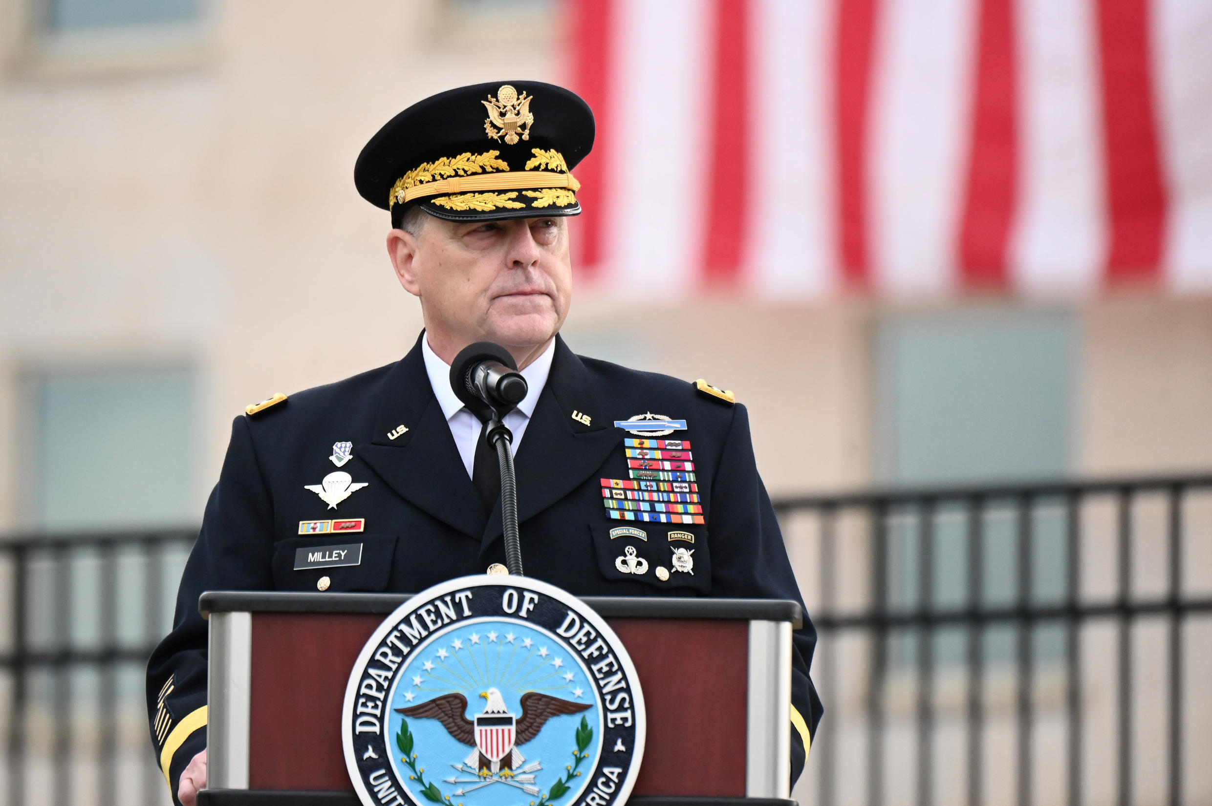 General Mark Milley gives remarks during the 19th annual September 11 observance ceremony
