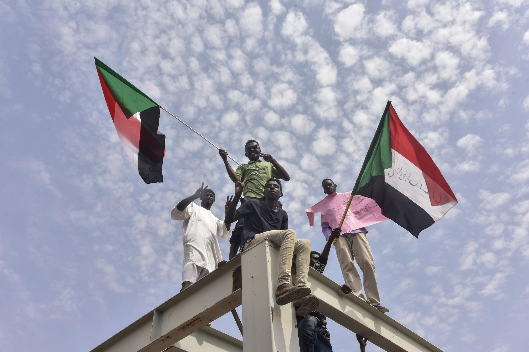 Waandamanaji wa nchini Sudan walipokuwa kwenye barabara za Khartoum, August 17, 2019.