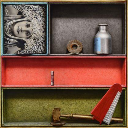 Lorenzo Fernández : Dos virtudes (oleo y acrílico sobre plancha) 135 x 135 cm
