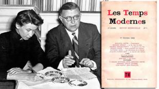 """سارتر و دوبووآر در کنار تصویر نخستین شمارۀ ماهنامۀ """"زمان نو"""""""
