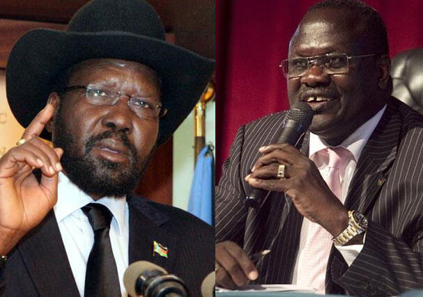 Raisi Salva Kiir wa Sudan Kusini na Aliyekuwa Makamu wake Riek Machar wakiwa Juba Sudan Kusini.