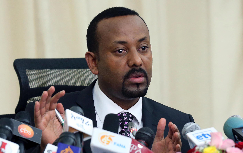 Le Premier ministre éthiopien, Abiy Ahmed, lors de sa première conférence de presse, le 25 août 2018, depuis son entrée en fonction, en avril.