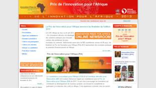 Page d'accueil dusite internet du Prix de l'innovation pour l'Afrique.