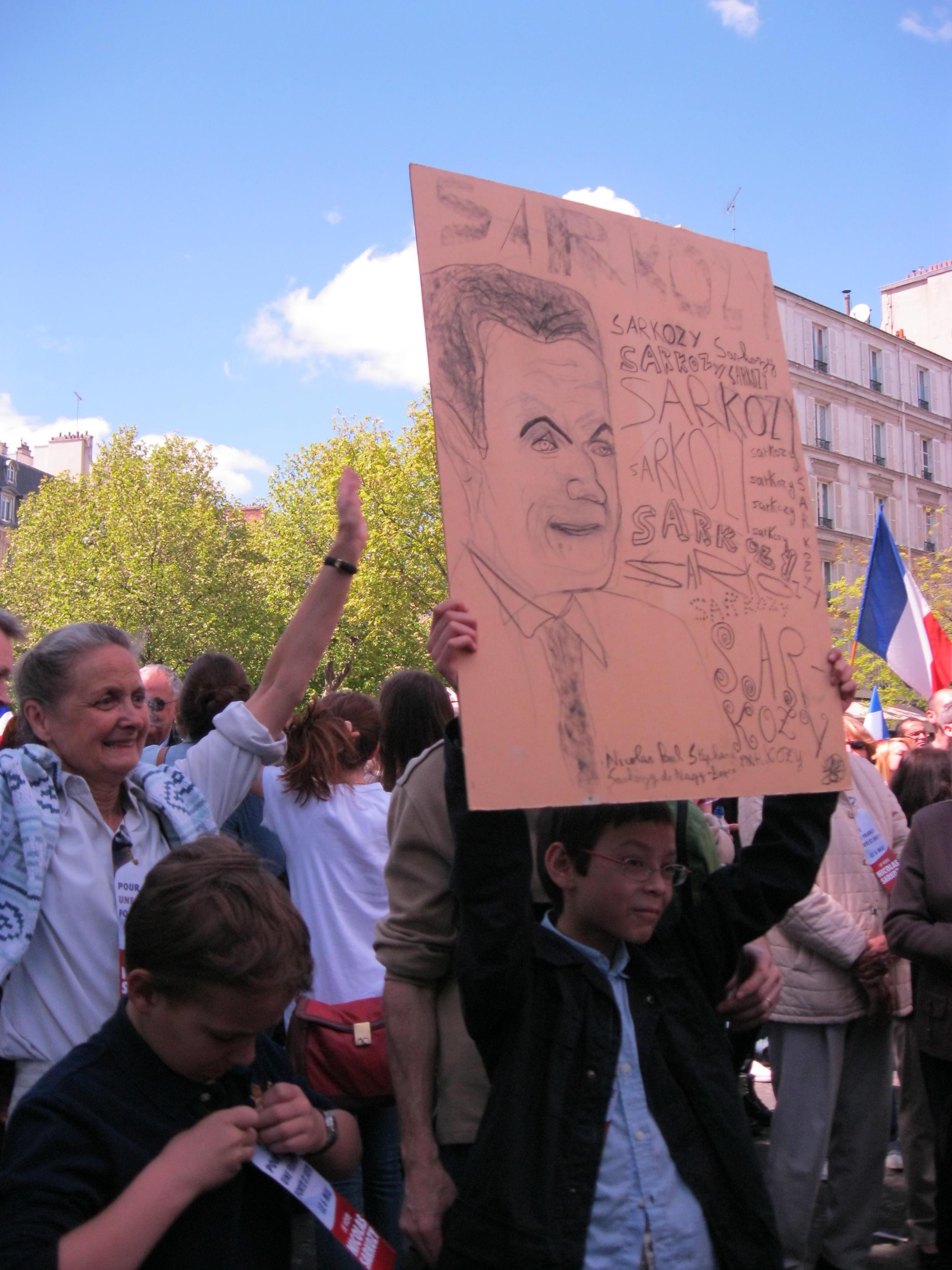 Сторонники Николя Саркози на митинге 1 мая 2012 года
