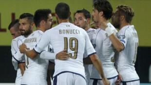 Les Italiens, durant le match les opposant à la Macédoine, le 9 octobre 2016.