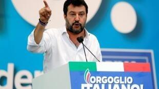 Le leader de la Ligue, Matteo Salvini lors d'un meeting à Rome le 19 octobre 2019.