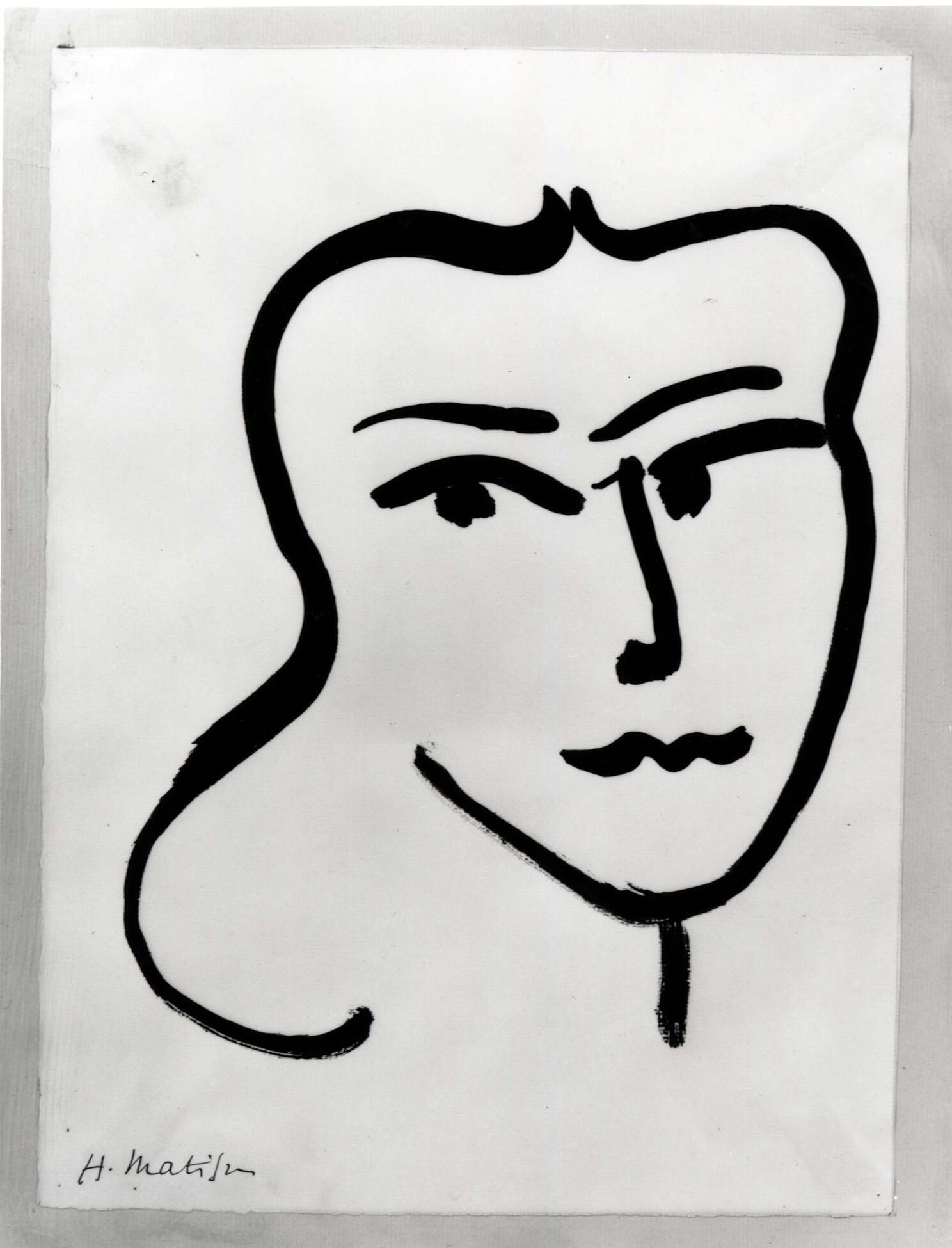 Анри Матисс. Портрет молодой женщины. 1948. кисть / китайская тушь / бумага 36 x 25,6 см. Частная коллекция