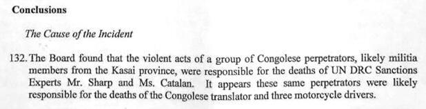 « L'incident », extrait du rapport confidentiel du comité d'enquête de l'ONU. Point 47, Page 12, août 2017