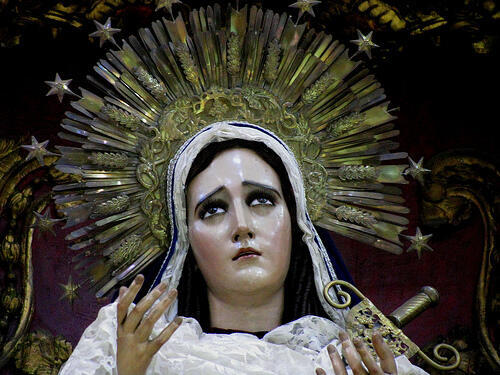 Imagen de la Santísima Virgen de Dolores del templo de Nuestra Señora de las Mercedes, Ciudad de Guatemala.
