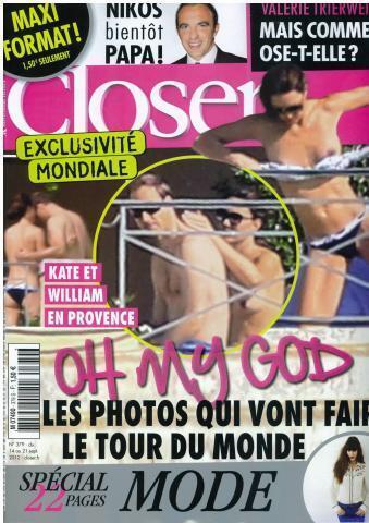 Capa da revista Closer chocou a família real britânica.
