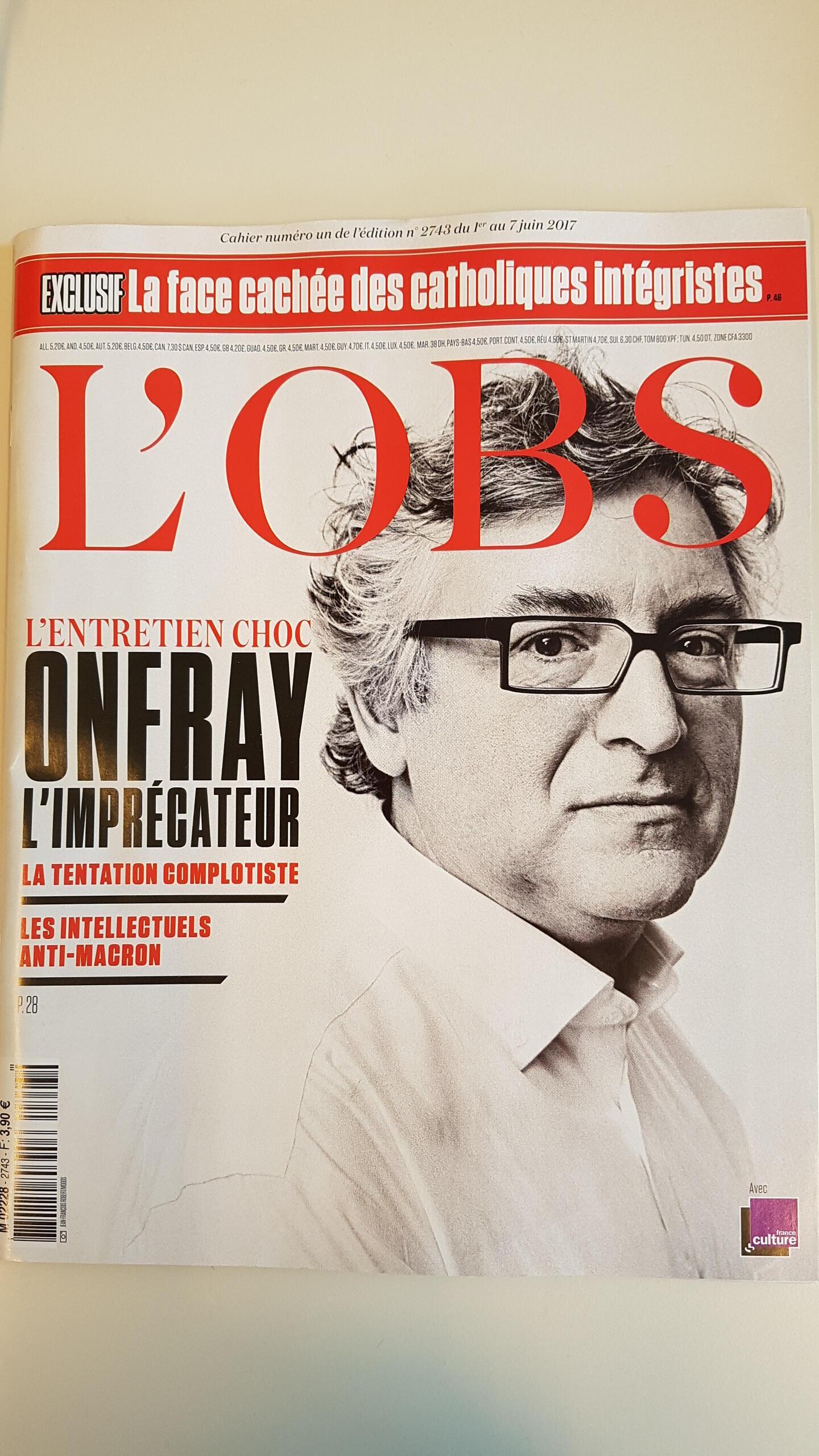 Triết gia Pháp, Michel Onfray trên trang bìa tuần san L'OBS số ra ngày 01/06/2017.