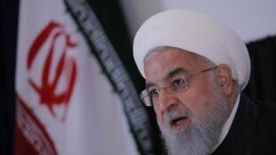 Le président iranien Hassan Rohani s'est exprimé en conférence de presse, en marge de l'Assemblée générale des Nations unies, à New York, le 26 septembre 2018.