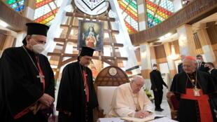 2021-03-05T154142Z_1324354163_RC235M9TISR8_RTRMADP_3_POPE-IRAQ-SYRO-CATHOLIC-CATHEDRAL