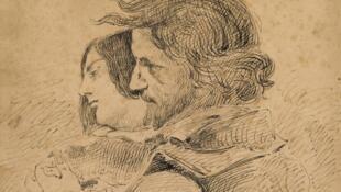 Gustave Courbet « Les Amants dans la campagne », vers 1867. Encre sur papier, 28,7 x 20 cm. Ornans, Musée Gustave Courbet.
