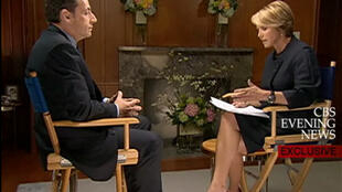President Nicolas Sarkozy is interviewed by Katie Couric for CBS News.