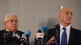 ایهود اُلمرت و محمود عباس در نیویورک یازدهم فوریه پیش از نشست شورای امنیت.