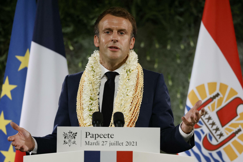 El presidente francés Emmanuel Macron durante un discurso en la Polinesia francesa el 27 de julio de 2021