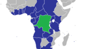 Map of Africa with DR Congo highlighted in green
