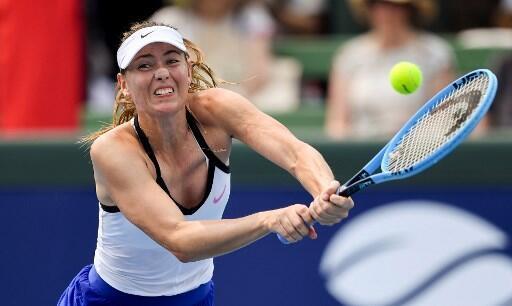 Maria Sharapova, lors du tournoi d'exhibition à Kooyong, en banlieue de Melbourne, le 14 janvier 2020.
