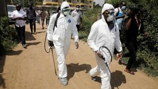 Kenyan health officials after cleaning up the area found a man infected with Coronavirus in Rongai, a suburb of Nairobi.14/3/2020.