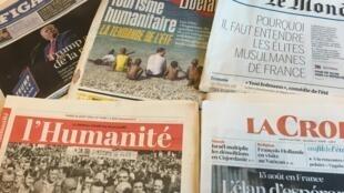 Primeiras páginas dos diários franceses 16/08/2016