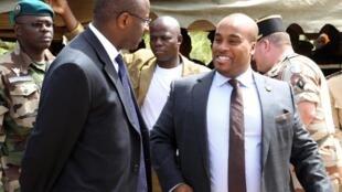 Karim Keïta, le fils de l'ex- président malien IBK (à droite) en 2014 à Bamako.