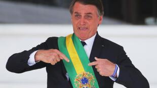 O novo presidente brasileiro, Jair Bolsonaro, Brasília, 1° de janeiro de 2019.