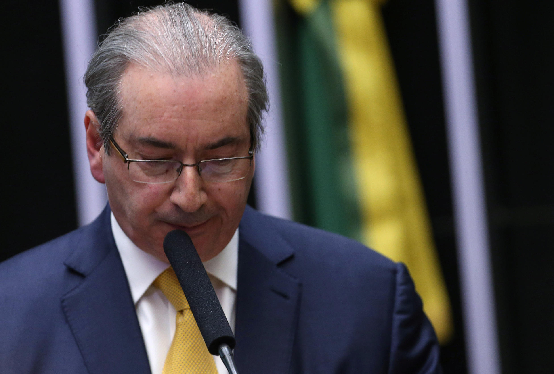 Eduardo Cunha devant la Chambre des députés, lors du vote de sa destitution, le 12 septembre 2016.