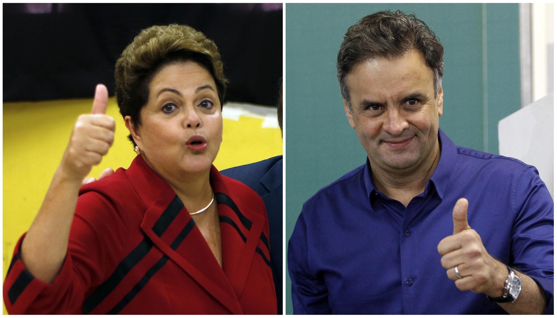 Os candidatos ao segundo turno das eleições presidenciais brasileiras, Dilma Rousseff e Aécio Neves.
