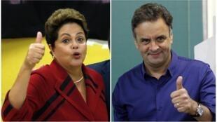 A presidente Dilma Rousseff e o candidato à presidência Aécio Neves.