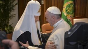 Shugaban darikar katolika ta duniya Paparoma Francis da shugaban Kiristocin Orthodox na Rasha Kirill