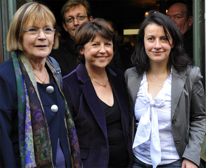 Martine Aubry with Greens leader Cecile Duflot and Left Front National Secretary Marie-George Buffet
